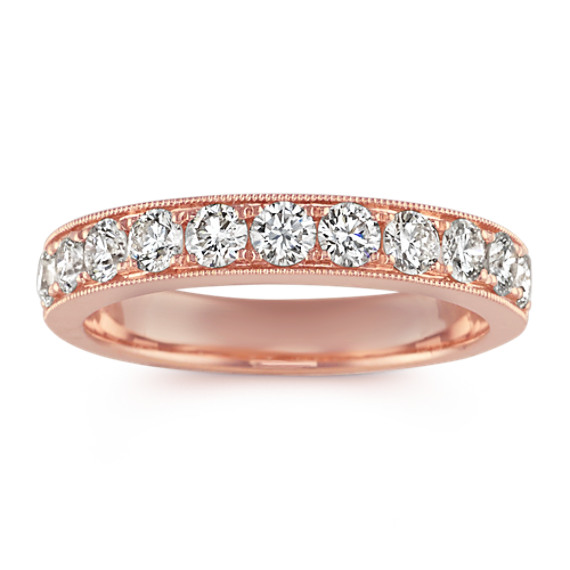 Diamond Wedding Band in 14k Rose Gold with Milgrain Detailing