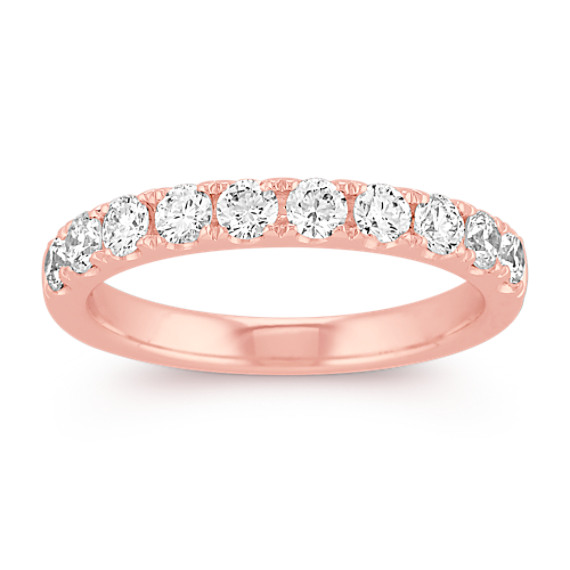 Pavé-Set Diamond Wedding Band in 14k Rose Gold