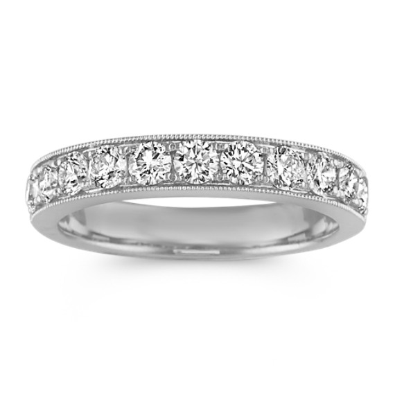 Diamond Wedding Band in 14k White Gold with Milgrain Detailing