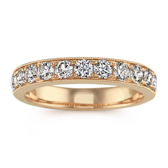 Diamond Wedding Band in 14k Yellow Gold with Milgrain Detailing
