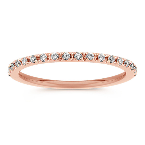 Diamond Wedding Band in Rose Gold with Pave Setting