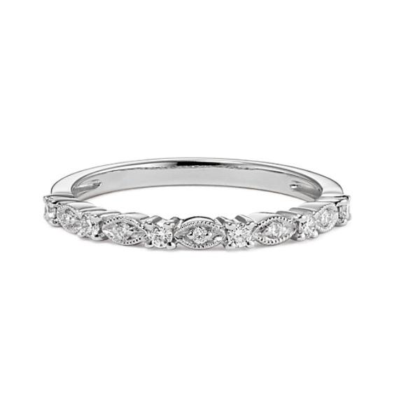 Diamond Wedding Band with Alternating Design