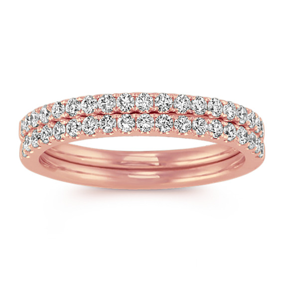 Diamond Wedding Bands in 14k Rose Gold