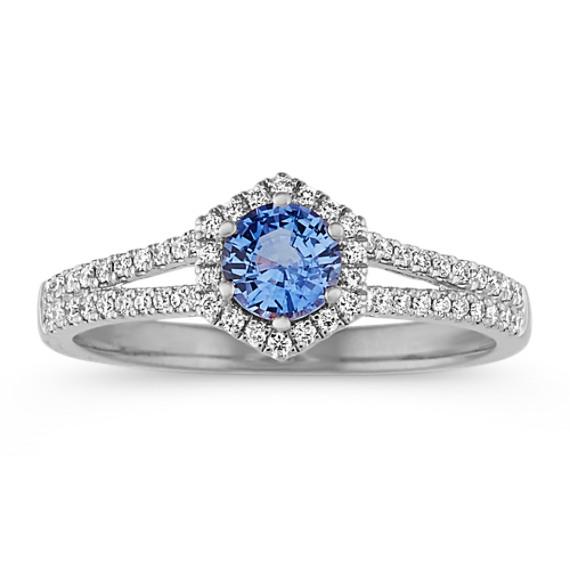Diamond & Kentucky Blue Sapphire Halo Ring