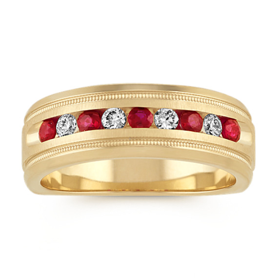 Diamond and Ruby Mens Band in 14k Yellow Gold (7mm)