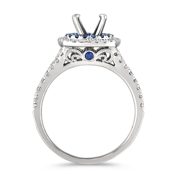 Diamond and Sapphire Engagement Ring with Pave Setting image