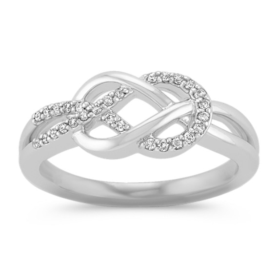 Perfect Diamond and Sterling Silver Knot Ring | Shane Co. SN96