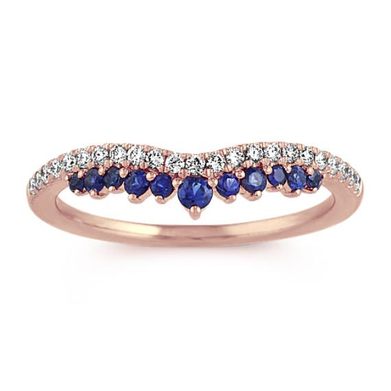 Diamond and Traditional Blue Sapphire Contour Wedding Band