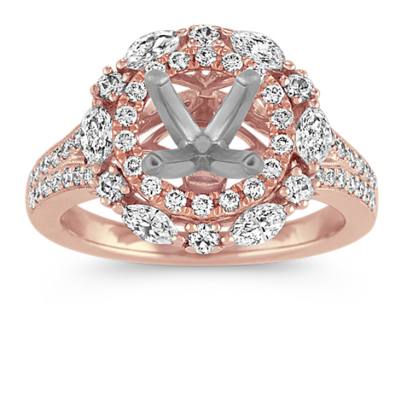 Double-Halo Diamond Engagement Ring in 14k Rose Gold