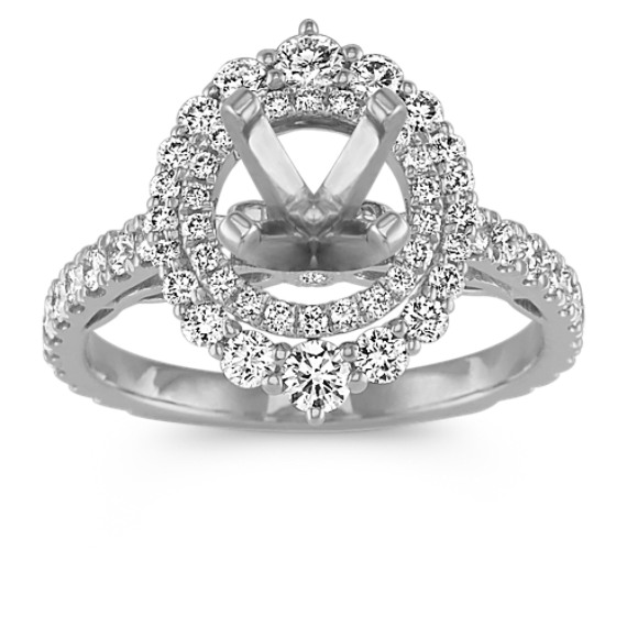 Double-Halo Diamond Engagement Ring in 14k White Gold