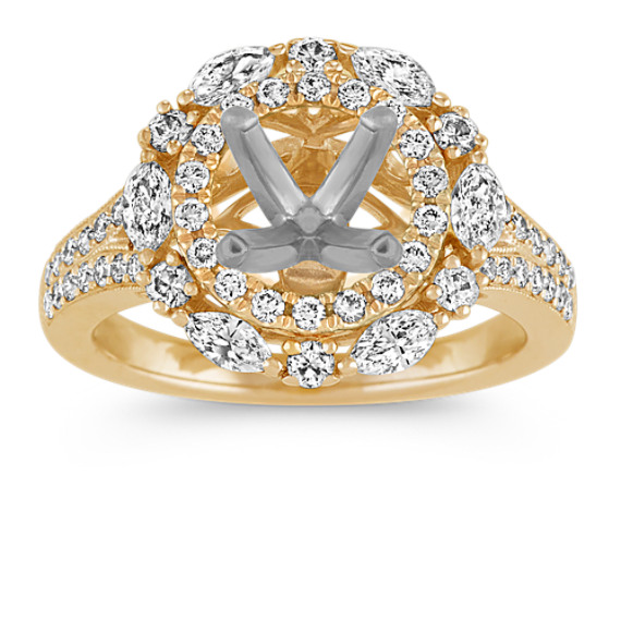 Double-Halo Diamond Engagement Ring in Yellow Gold