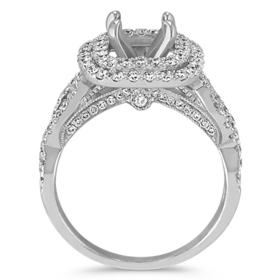 Double Halo Diamond Infinity Engagement Ring image