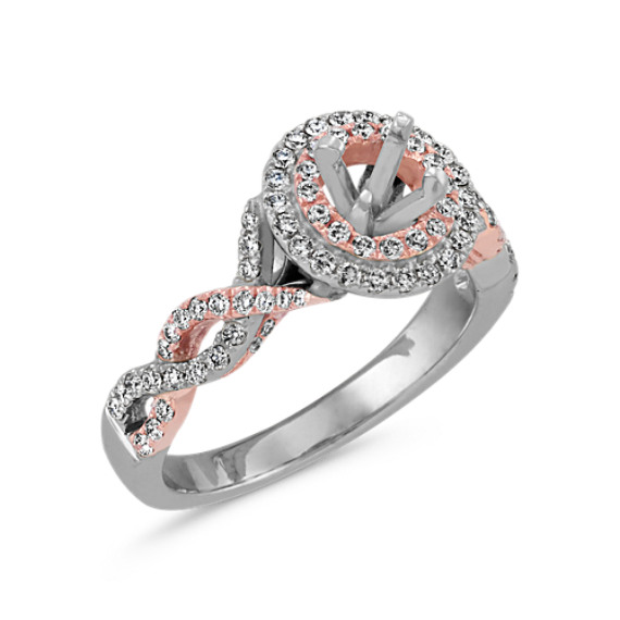 37364a233 Double Halo Infinity Engagement Ring in 14k White and Rose Gold ...