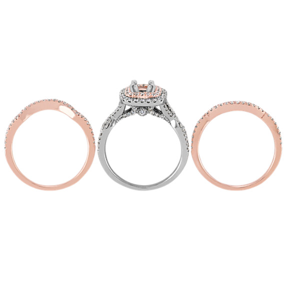 Double Halo Infinity Wedding Set in 14k White and Rose Gold image