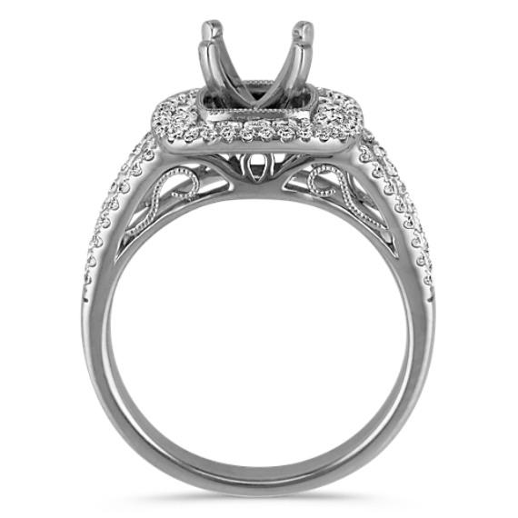 Double Halo Multi-Size Round Diamond Engagement Ring image