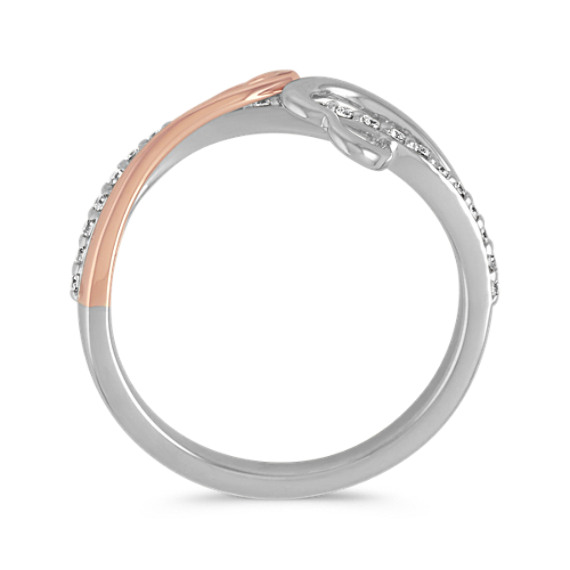 Double Heart Diamond Ring in 14k Rose Gold and Sterling Silver image