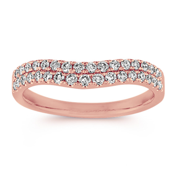 Double Row Diamond Contour Wedding Band