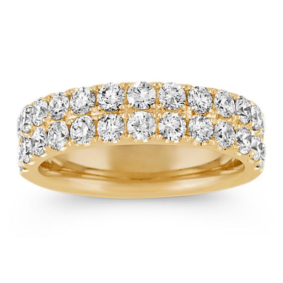 Double Row Diamond Wedding Band in 14k Yellow Gold