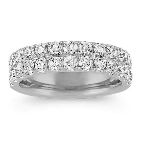 Double Row Pave-Set Diamond Wedding Band