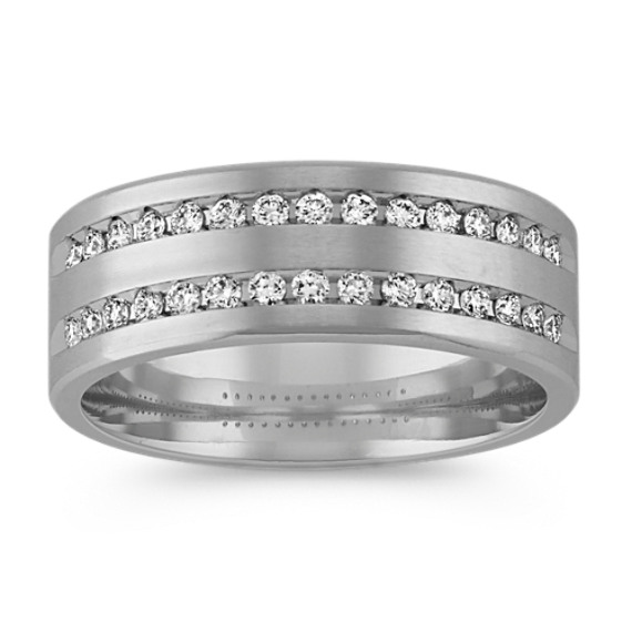 Double Row Round Diamond Ring with Brushed Finish (8mm)