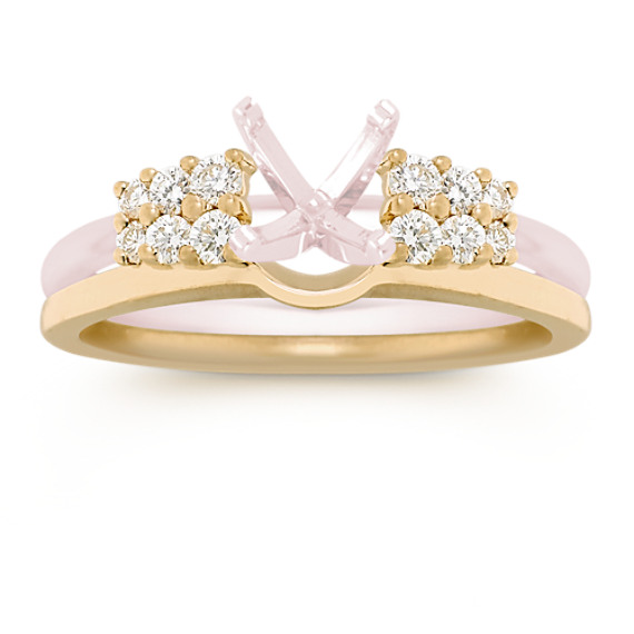 Double Row Round Diamond Solitaire Engagement Ring Enhancer Shane Co