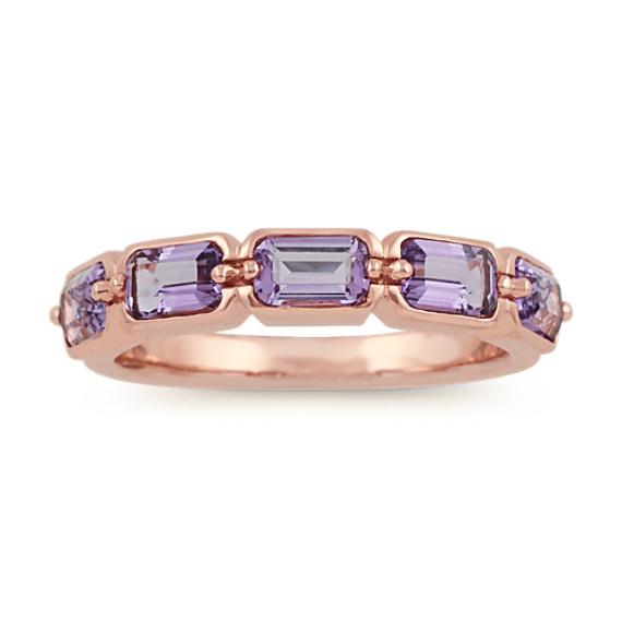 Emerald Cut Amethyst Ring in 14k Rose Gold