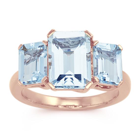 Emerald Cut Aquamarine Three-Stone Ring in 14k Rose Gold