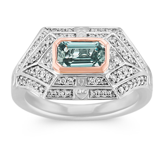 Emerald Cut Blue Green Sapphire and Diamond Ring in 14k White and Rose Gold