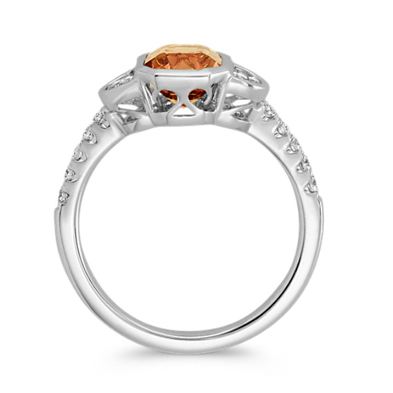 Emerald Cut Cognac Sapphire and Diamond Ring image