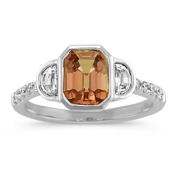 Emerald Cut Cognac Sapphire and Diamond Ring