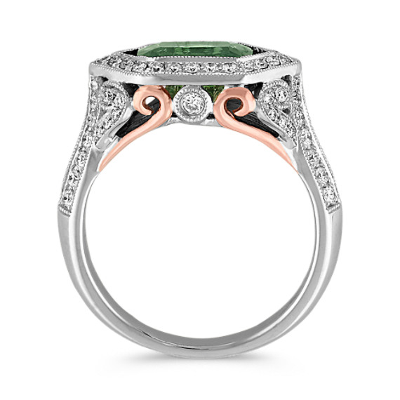 Emerald Cut Green Sapphire and Diamond Ring in 14k White and Rose Gold image