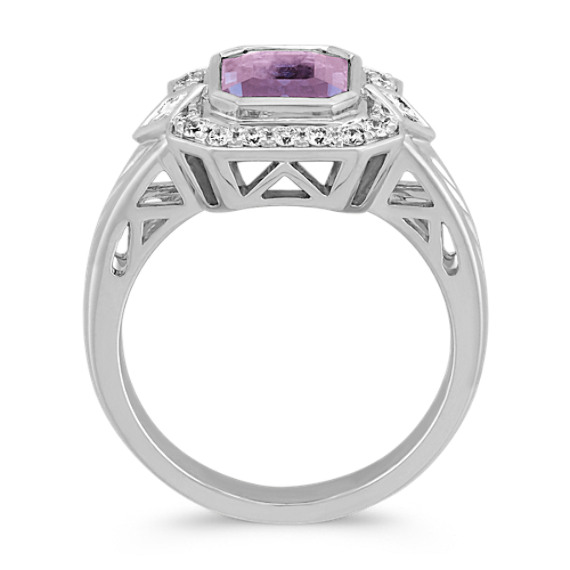 Emerald Cut Lavender Sapphire, Princess Cut and Round Diamond Ring image