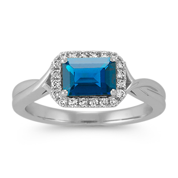 Emerald Cut London Blue Topaz and Diamond Ring in Sterling Silver