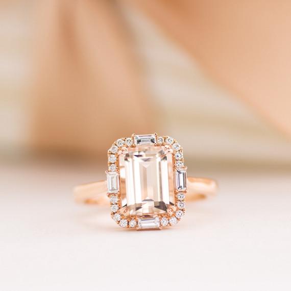 Emerald Cut Morganite And Diamond Ring Shane Co