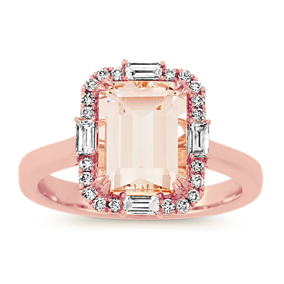 Emerald Cut Morganite and Diamond Ring