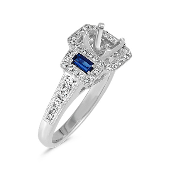 Emerald Cut Vintage Halo Engagement Ring With Sapphire And Diamond
