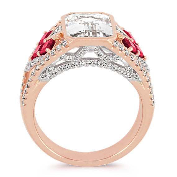Emerald Cut White Sapphire, Princess Cut Ruby and Trillion Diamond Ring image