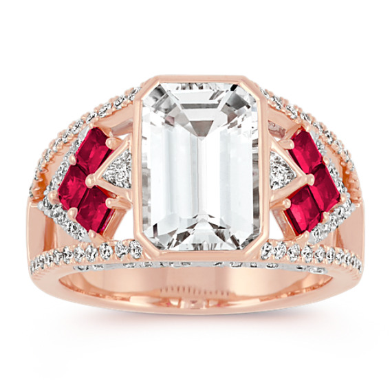 Emerald Cut White Sapphire, Princess Cut Ruby and Trillion Diamond Ring
