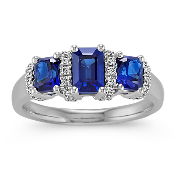 Emerald Cut and Radiant Cut Sapphire and Round Diamond Ring