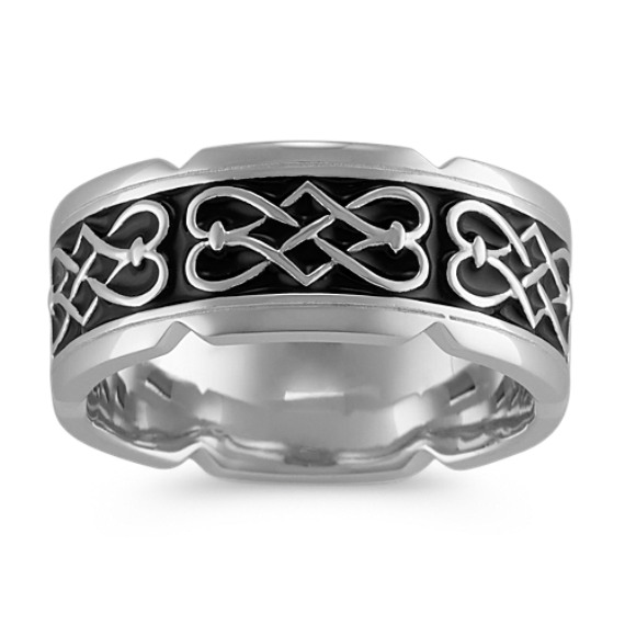 Engraved 14k White Gold Ring with Celtic Design and Black Enamel (9.5mm)