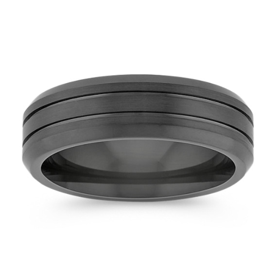 Engraved Black Cobalt Comfort Fit Ring (7mm)