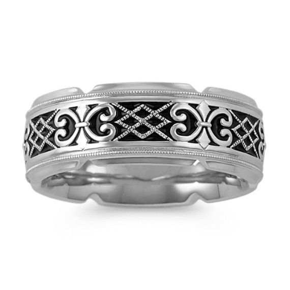 Engraved Celtic Comfort Fit Band with Milgrain and Black Enamel (8.5mm)
