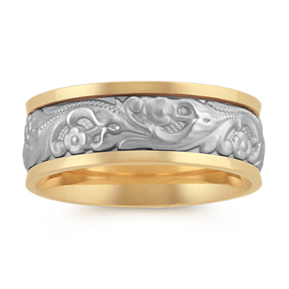 Engraved Contemporary Mens Ring in 14k Two-Tone Gold (8mm)