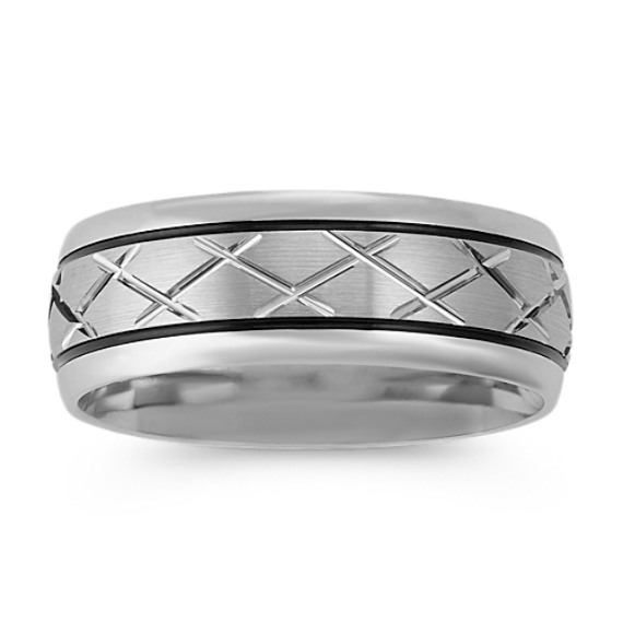 Engraved Crisscross Wedding Band with Black Rhodium Accent (8mm)