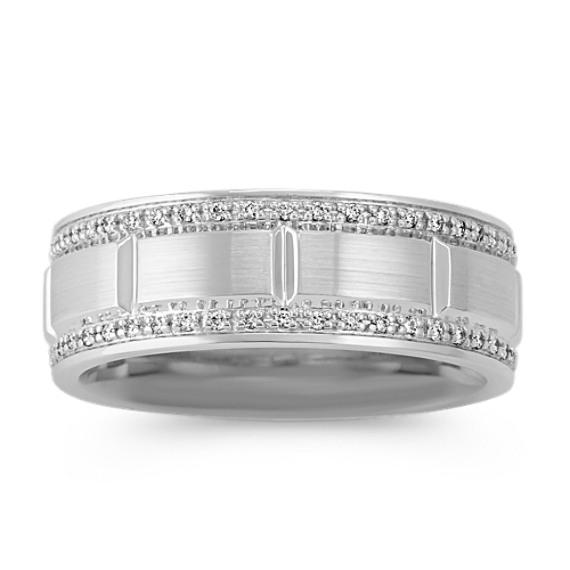 Engraved Diamond Wedding Band (8mm)