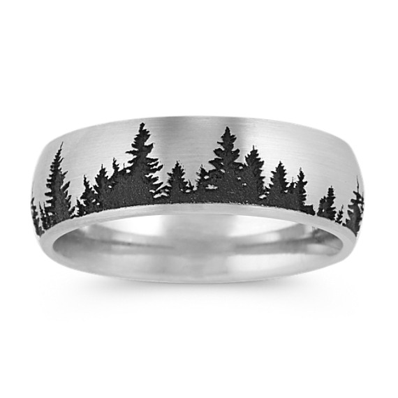 Engraved Forest Mens Band (7mm)