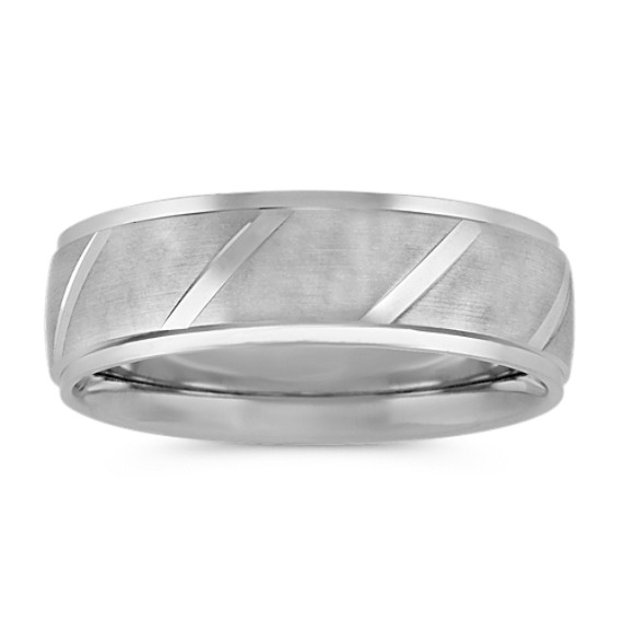 Engraved Mens Band in 14k White Gold with Satin Finish (7mm)