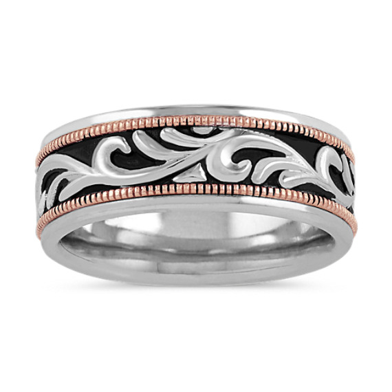Engraved Mens Band in 14k White and Rose Gold (8mm)