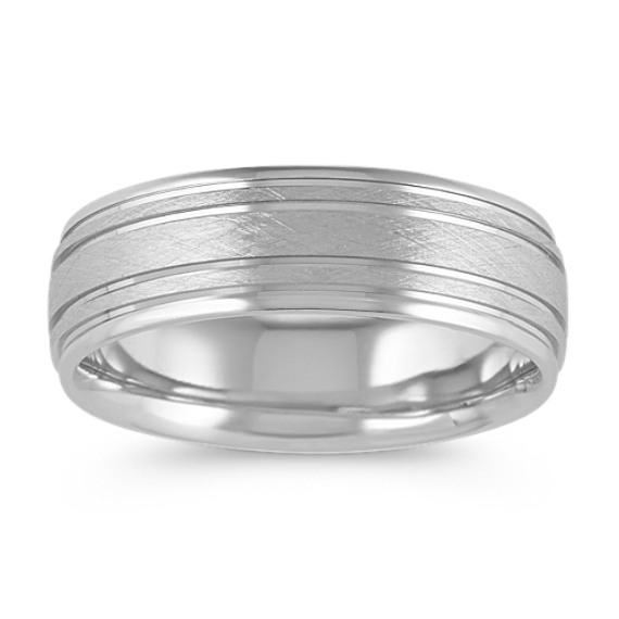 Engraved Mens Wedding Band in 14k White Gold (7mm)
