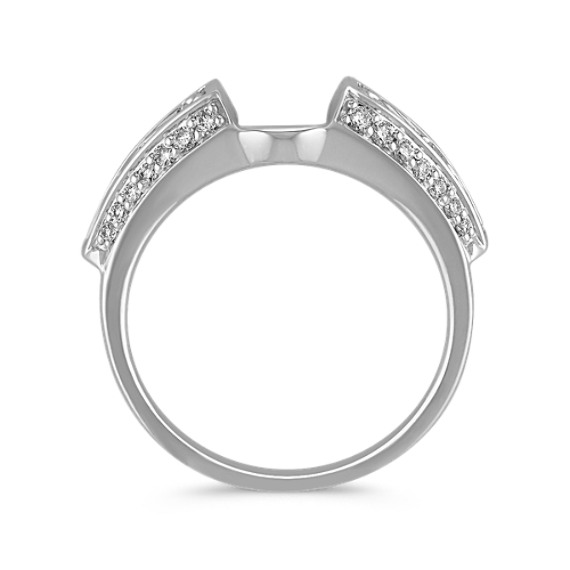 Engraved Pave-Set Round Diamond Solitaire Engagement Ring Wrap image